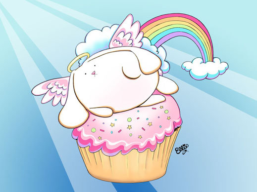 Cartoon Angel Bunny Riding a Cupcake by the Artist Ellie